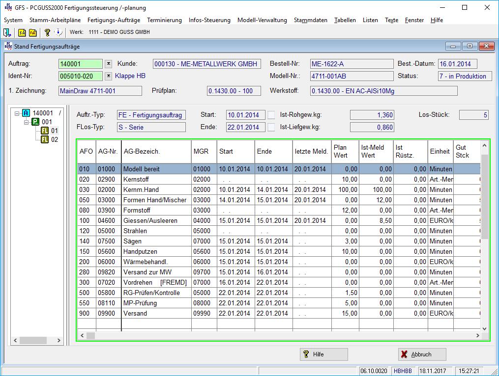 Produktionsplanung: PCGuss 2000: Software für Giessereien